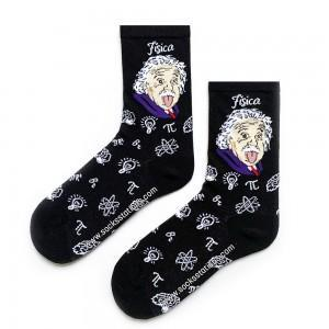 Siyah Einstein Desenli Çorap