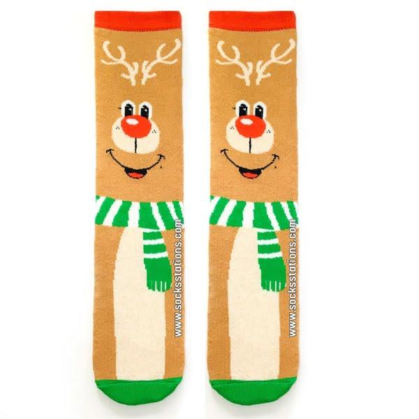 Yılbaşı Gülen Geyik Çorap