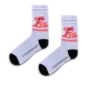 beyaz ayıcık desenli çorap