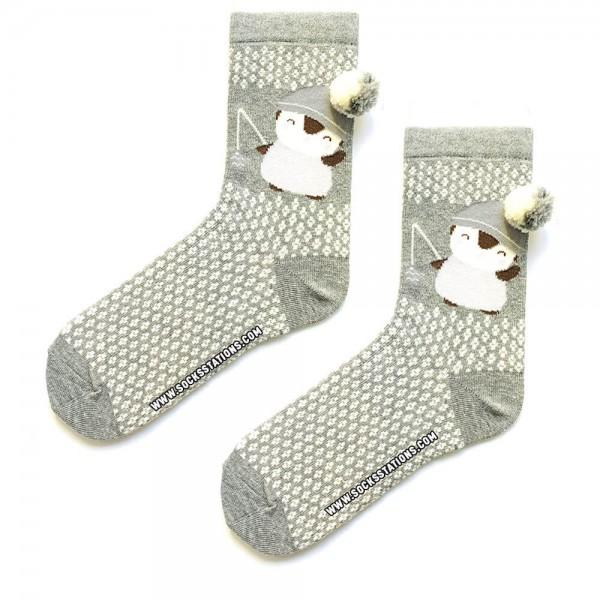 Ponponlu Gri Penguen Desenli Çorap