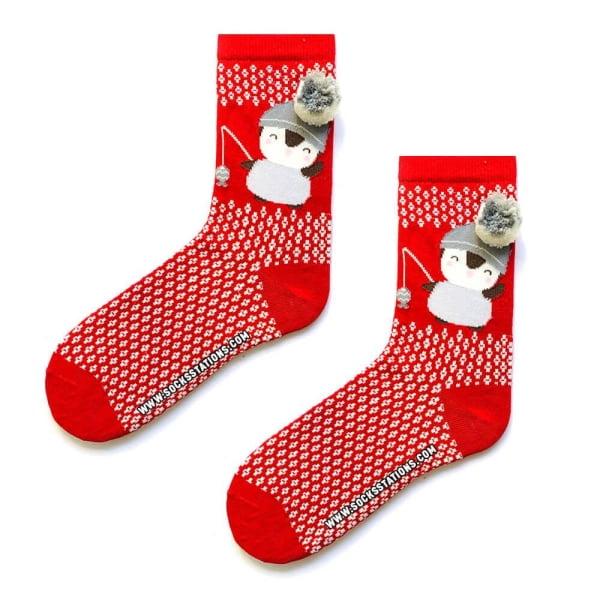 Ponponlu Kırmızı Penguen Desenli Çorap
