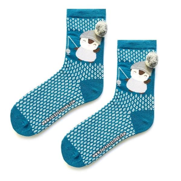 Ponponlu Mavi Penguen Desenli Çorap