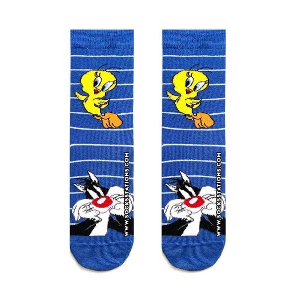 Tweety ve Sylvester Mavi Soket Çorap