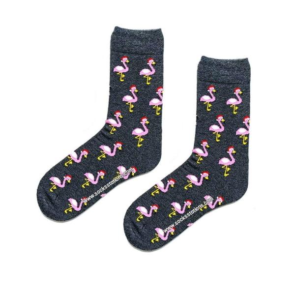 Gri Flamingo Desenli Çorap