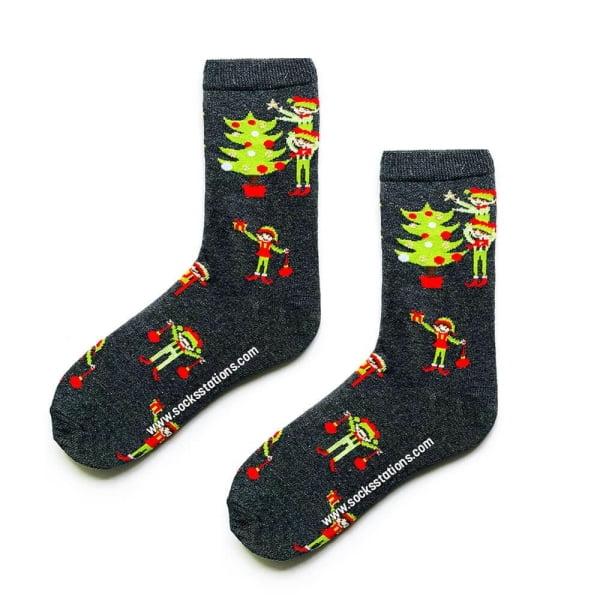 Gri Yılbaşı Ağacı Desenli Çorap