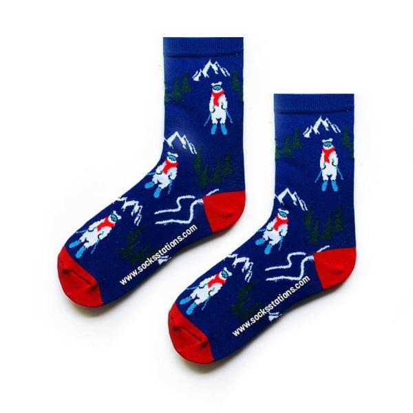 Kayaklı Kutup Ayısı Desenli Çorap