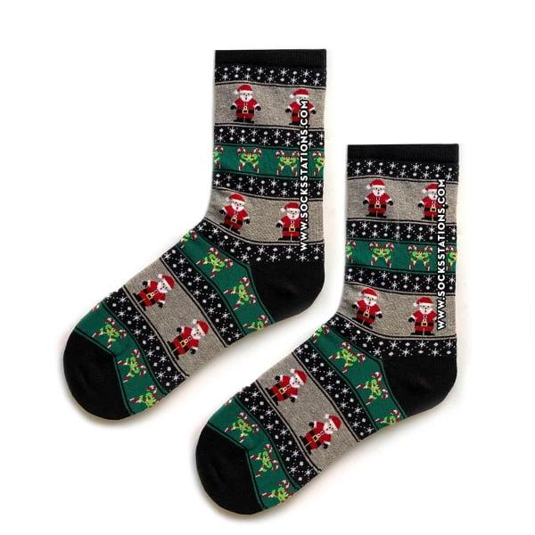 Yeşil Çizgili Noel Yılbaşı Çorap