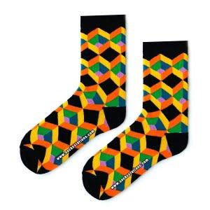 3D Siyah Renkli Çorap
