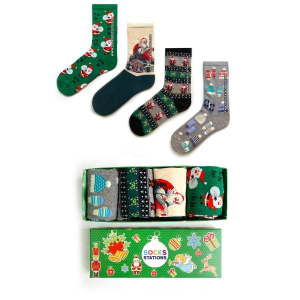4'lü Noel Baba Çorap Kutusu