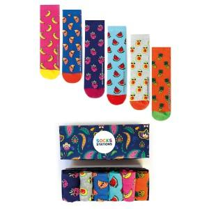 6'li Men Minik Meyve Desenli Çorap Kutusu