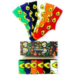 6'lı renkli avokadolar çorap kutusu