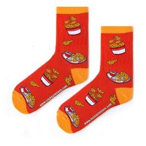 Chicken desenli turuncu çorap