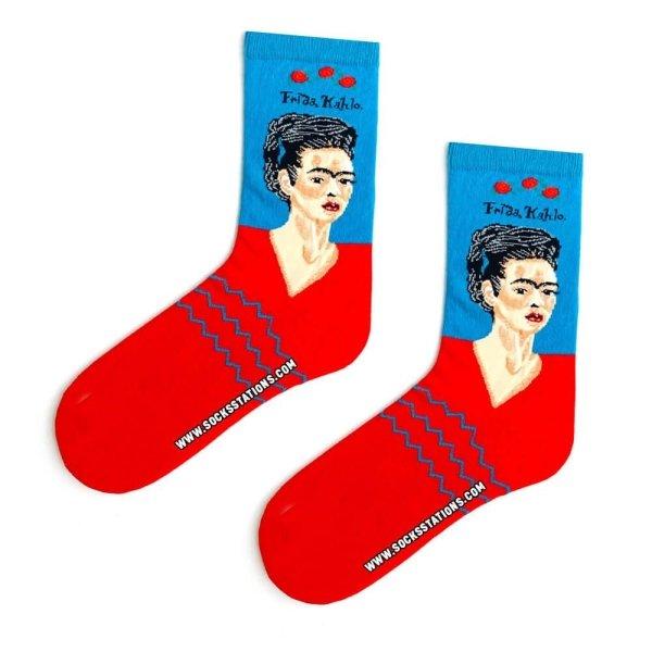 Mavi Frida Kahlo Desenli Sanatsal Çorap