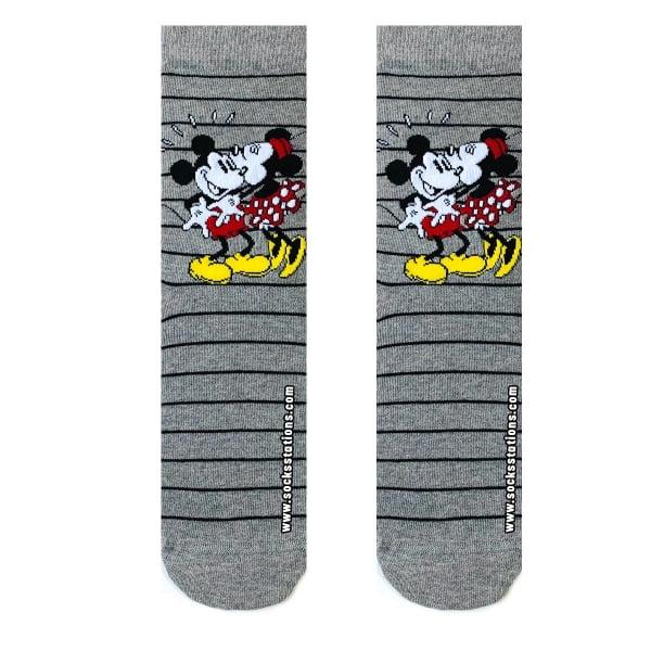 Gri Çizgili Mickey Minnie Çorap