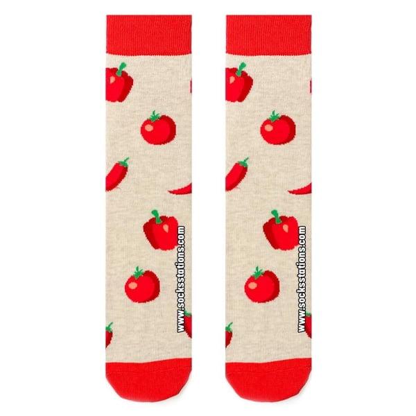 Kırmızı Sebze Desenli Çorap