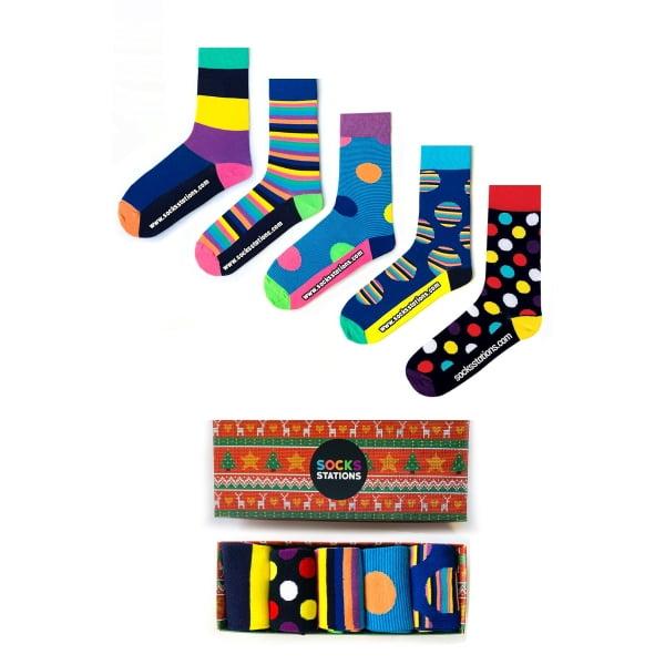 (43-47) 5'li Erkek Renkli Çorap Kutusu