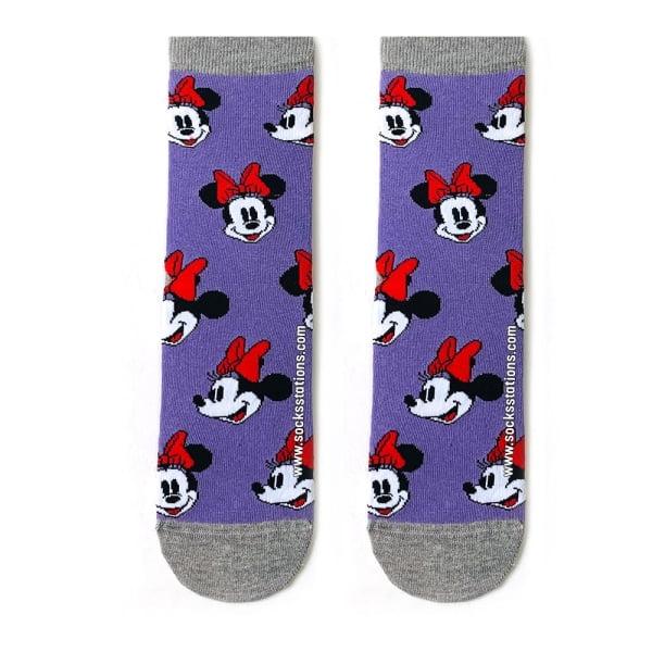 Mor Mickey Desenli Çorap