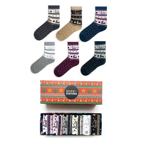 6'li Renkli Evler Çorap Kutusu