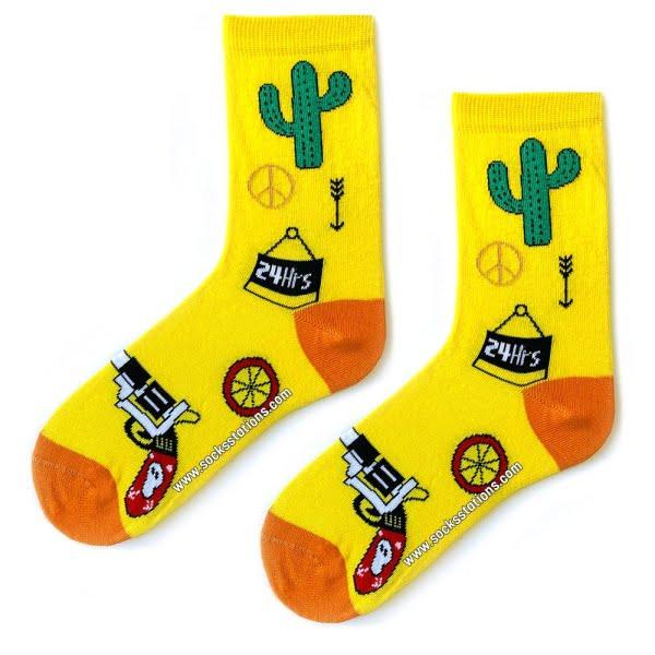 Sarı Kaktüs Desenli Çorap