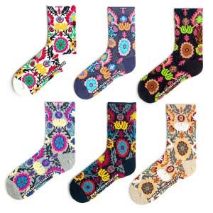 6'li Renkli Çicek Desenli Çorap Kutusu