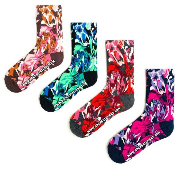 4'lü Ebru Sanatı Desenli Çoraplar