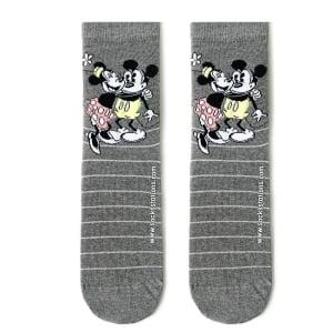Gri Mickey Mouse Simli Çizgili Çorap
