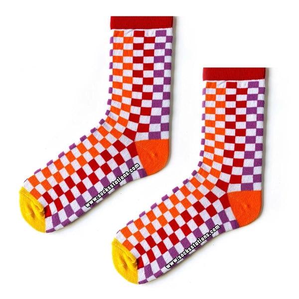 Kırmızı Mor Damalı Çorap