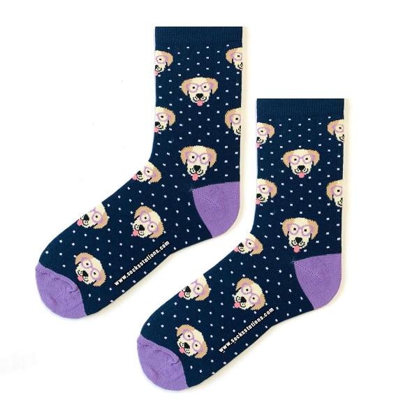 Lacivert Köpek Desenli Çorap