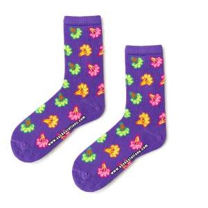 Mor Brokoli Desenli Soket Çorap