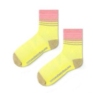 Sarı Sim Çizgili Çorap