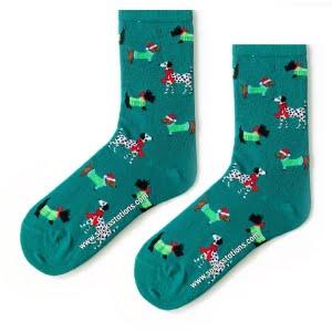 Yeşil Köpek Desenli Çorap