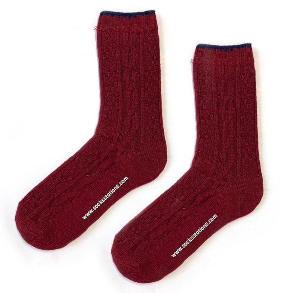 Yün Bordo Çorap