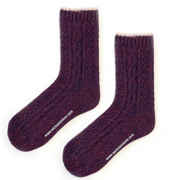Yün Bordo Kırçıllı Çorap