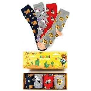 4'lü Hayvan Desenli Renkli Çorap Kutusu