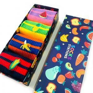 4'lü Meyve Nakışlı Çorap Kutusu