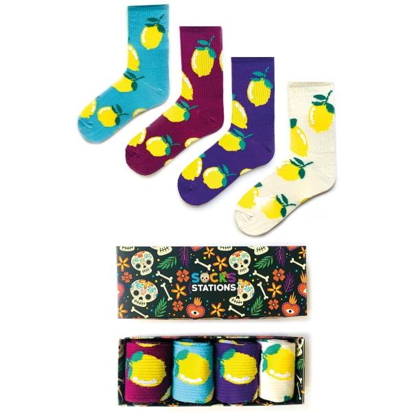 4'lü Limon Desenli Renkli Çorap Kutusu
