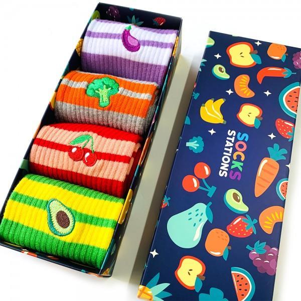 4'lü Meyve Nakışlı Çorap Kutusu 3