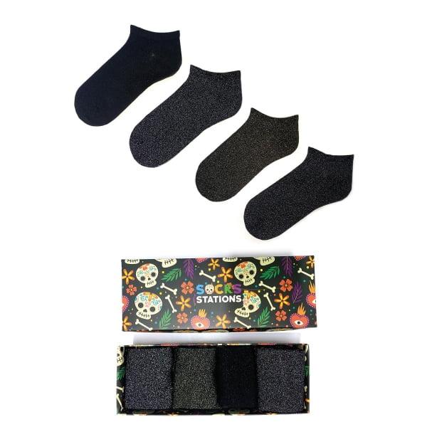4'lü Simli Desenli Çorap Kutusu