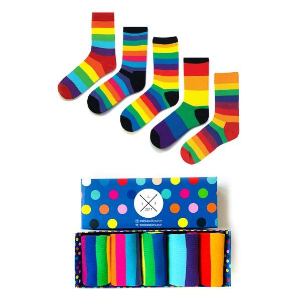 5'li Renkli Çizgili Çorap Kutusu
