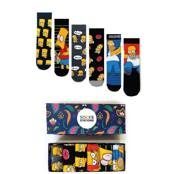 6'lı Simpsons Renkli Çorap Kutusu