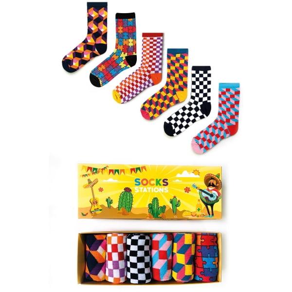 6'lı 3D Desenli Renkli Çorap Kutusu