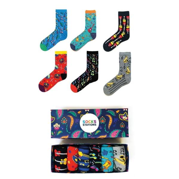 6'lı Müzik Desenli Renkli Çorap Kutusu