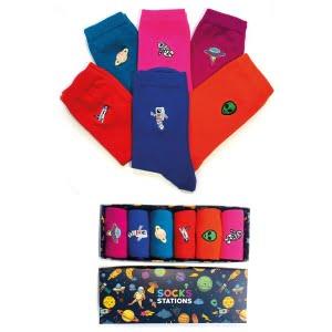 6'lı Nakışlı Astronot Desenli Renkli Çorap Kutusu