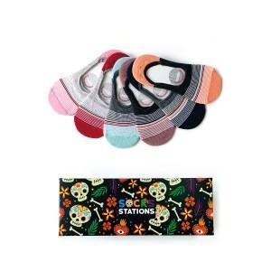 6'lı İnce Çizgili Renkli Babet Çorap Kutusu