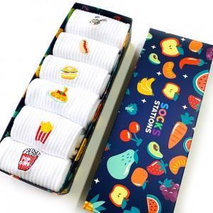 6'lı Fastfood Nakışlı Beyaz Tenis Çorap Kutusu