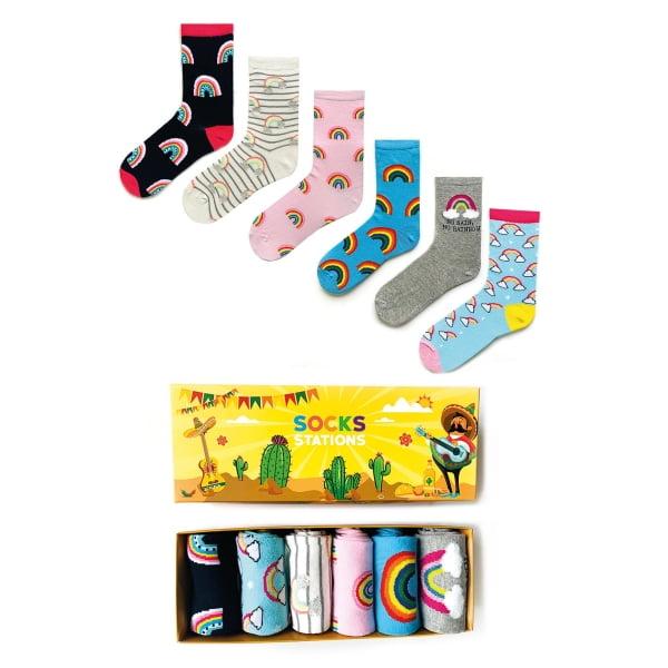 6'lı Gökkuşağı Renkli Çorap Kutusu