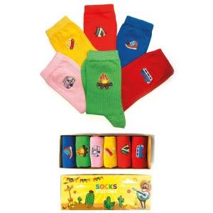 6'lı Kamp Nakışlı Desenli Renkli Çorap Kutusu