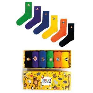 6'lı Nakışlı Köpek Desenli Renkli Çorap Kutusu