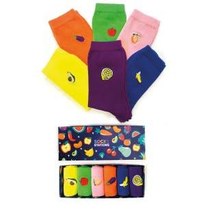 6'lı Nakışlı Meyve Sebze Desenli Çorap Kutusu