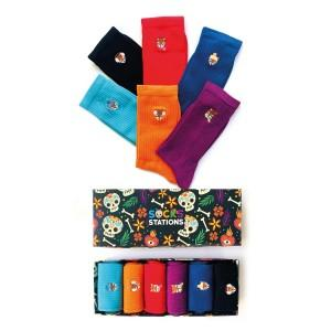 6'lı Nakışlı Tilki Desenli Renkli Çorap Kutusu